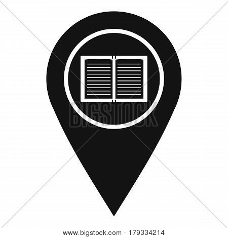Map pointer with book icon. Simple illustration of map pointer with book vector icon for web
