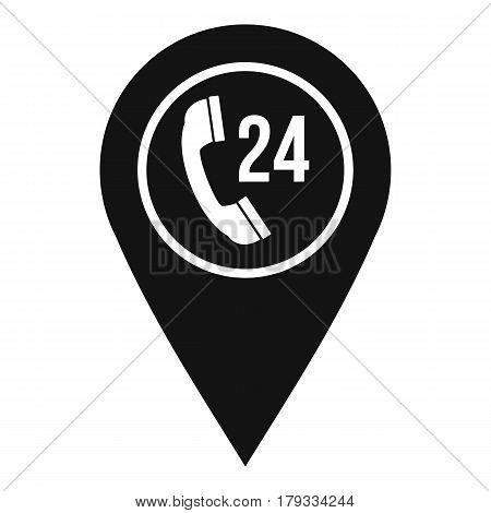 Map pointer with phone handset sign icon. Simple illustration of map pointer with phone handset vector icon for web