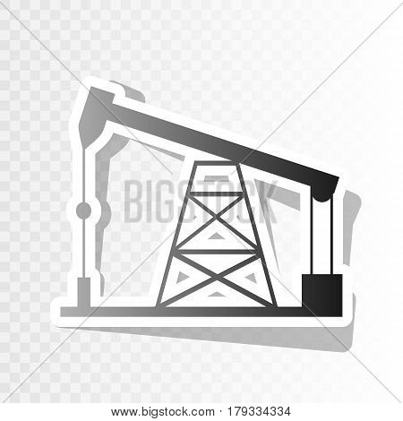 Oil drilling rig sign. Vector. New year blackish icon on transparent background with transition.