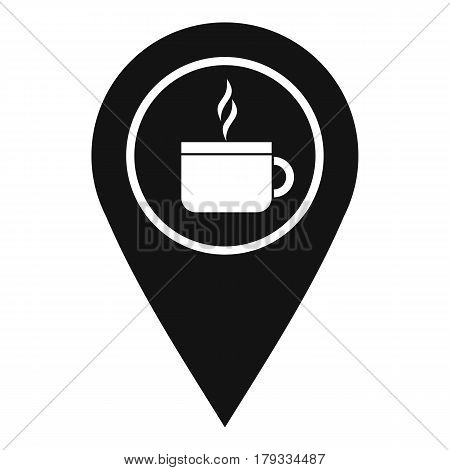 Map pin location with tea or coffee cup sign icon. Simple illustration of map pin location with tea or coffee cup sign vector icon for web