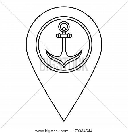 Pin with an anchor icon. Outline illustration of pin with an anchor vector icon for web
