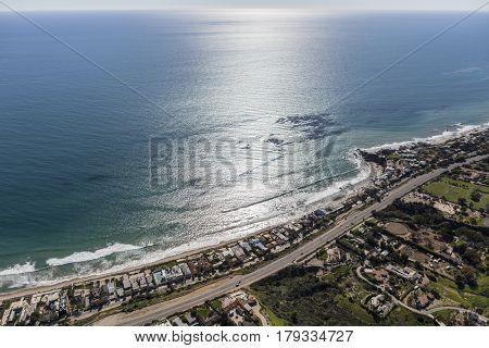 Aerial view of Malibu shoreline near Los Angeles, California.