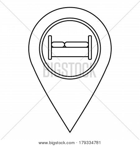 Map pointer with hotel sign icon. Outline illustration of map pointer with hotel sign vector icon for web