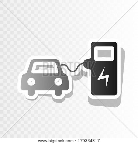 Electric car battery charging sign. Vector. New year blackish icon on transparent background with transition.