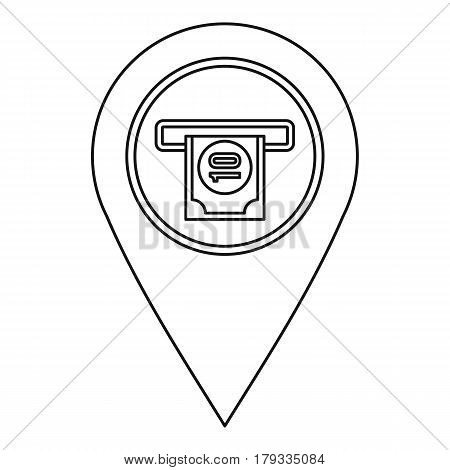 ATM machine marker icon. Outline illustration of ATM machine marker vector icon for web