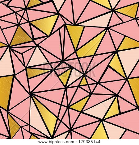 Vector Salmon Pink and Gold Foil Geometric Mosaic Triangles Repeat Seamless Pattern Background. Can Be Used For Fabric, Wallpaper, Stationery, Packaging. Surface pattern design.