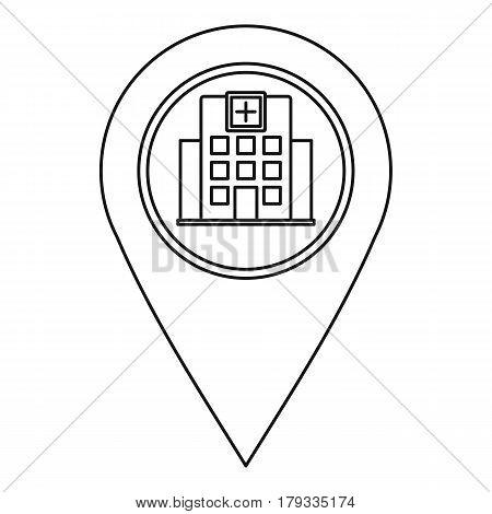 Hospital pin pointer icon. Outline illustration of hospital pin pointer vector icon for web