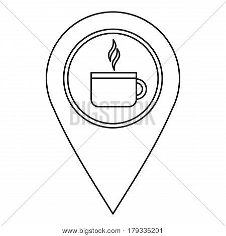 Coffee or tea location icon. Outline illustration of coffee or tea location vector icon for web