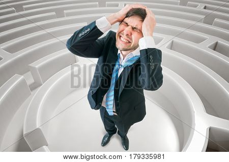 Young Man Is Confused And Lost In Maze. 3D Rendered Illustration