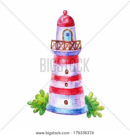 Cartoon marine watercolor lighthouse illustration icon isolated on white background. Hand draw illustration Perfect for clearance in a marine style Designtextilenautical elementsea life
