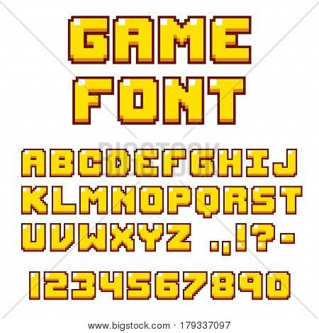 Pixel video game font. 8-bit symbols letters and numbers. Oldschool retro nostalgic typeface.