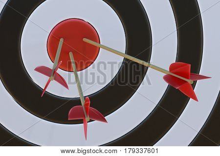 3D rendered illustration of target with arrows