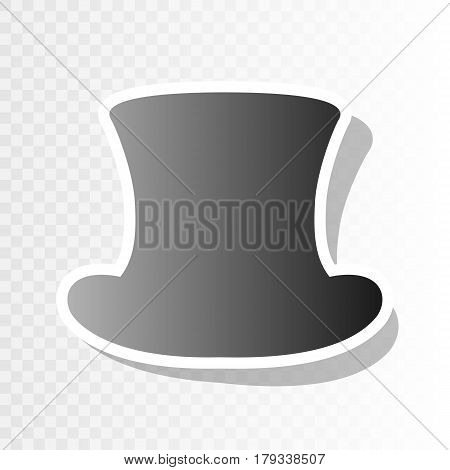 Top hat sign. Vector. New year blackish icon on transparent background with transition.