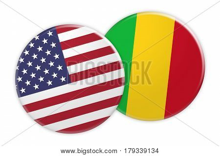 US News Concept: USA Flag Button On Mali Flag Button 3d illustration on white background