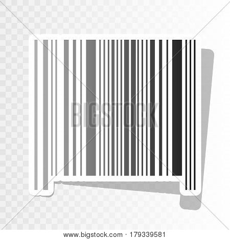 Bar code sign. Vector. New year blackish icon on transparent background with transition.
