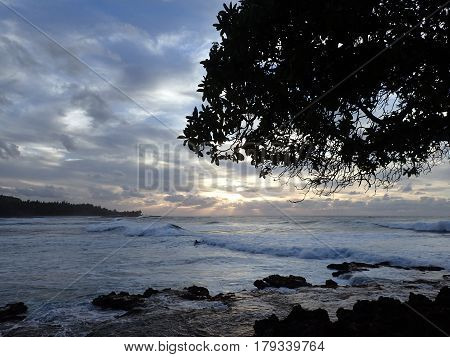 Beautiful Sunset over the ocean with person riding wave moving to shore on the North Shore of Oahu through the tree.