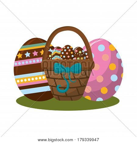 hamper with ribbon bow and eggs easter inside, vector illustration