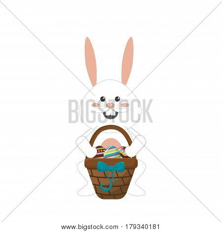 rabbit easter with eggs inside of hamper, vector illustration