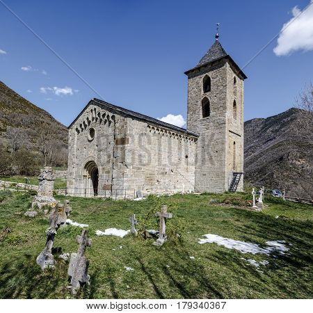 Roman Church of Santa Maria de la Asuncion in Coll (Catalonia - Spain). This is one of the nine churches which belongs to the UNESCO World Heritage Site.