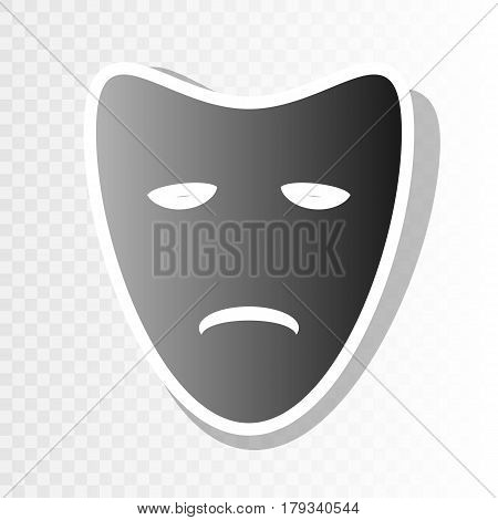Tragedy theatrical masks. Vector. New year blackish icon on transparent background with transition.