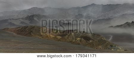 Dust Storm In The Indus River Valley: Mountain Ridge Surrounds The Sandy Wind, Haze In The Valley, S