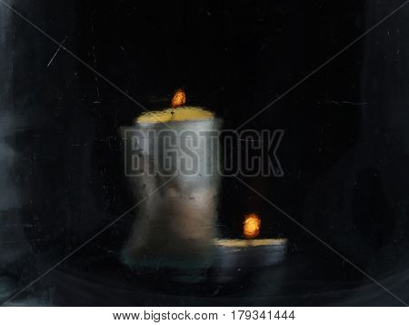Two Candles On A Black Background, Photographed Through The Glass, Which Makes It Look Like A Painti