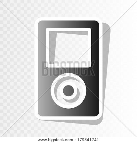 Portable music device. Vector. New year blackish icon on transparent background with transition.