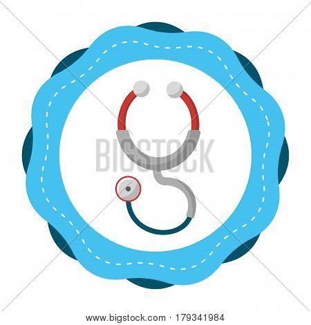 sticker stethoscope medical tool revision, vector illustration