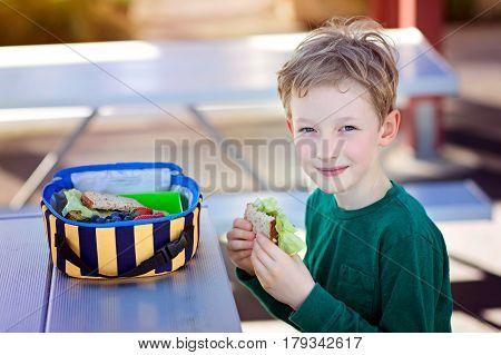 beautiful positive schoolboy enjoying healthy lunch during recess outdoor