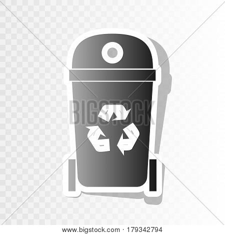 Trashcan sign illustration. Vector. New year blackish icon on transparent background with transition.