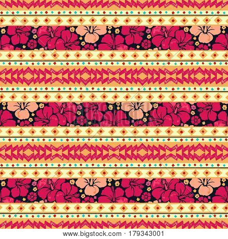 Color tribal vector seamless pattern with flowers hibiskus. Hawaiian fancy abstract geometric art print. Ethnic hipster backdrop.