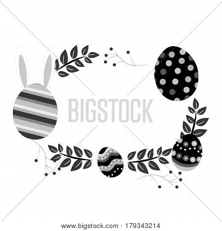 grayscale eggs easter with branches plant with rabbit inside of egg, vector illustration