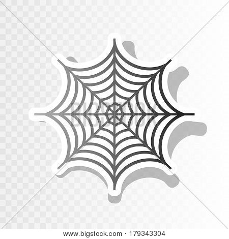 Spider on web illustration. Vector. New year blackish icon on transparent background with transition.