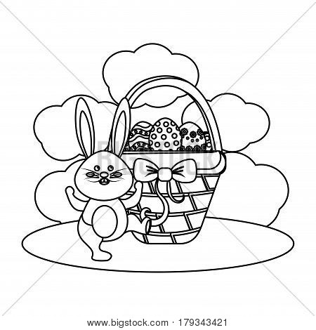 figure eggs easter inside the hamper and rabbit dancing, vector illustration