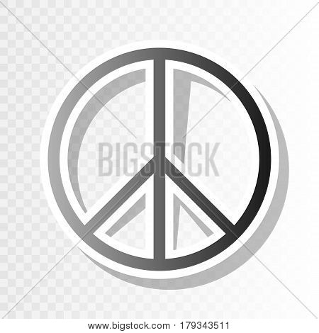 Peace sign illustration. Vector. New year blackish icon on transparent background with transition.