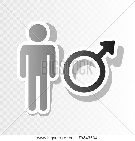 Male sign illustration. Vector. New year blackish icon on transparent background with transition.
