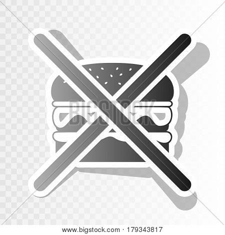 No burger sign. Vector. New year blackish icon on transparent background with transition.