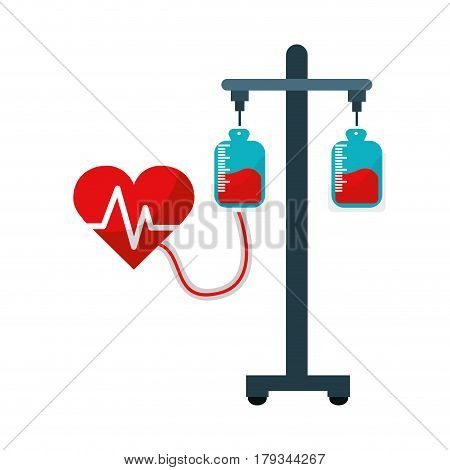 donation transfusion tools with heartbeat symbol, vector illustration
