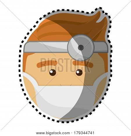 doctor with medical mask and reflector, vector illustration design
