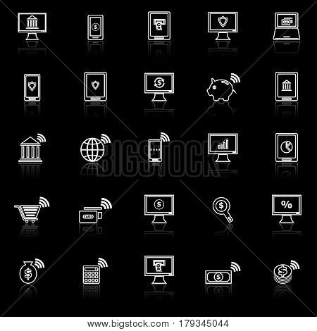 Online banking line icons with reflect on black background, stock vector