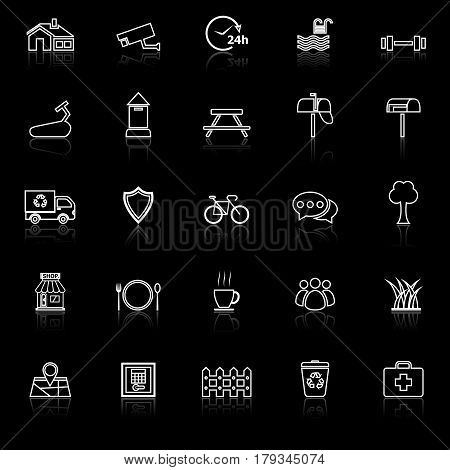 Village line icons with reflect on black background, stock vector