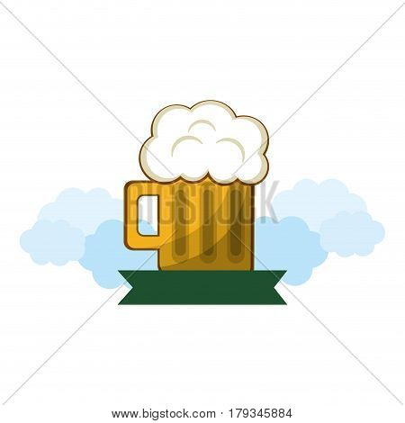 tasty beer with froth and ribbon vector illustration design