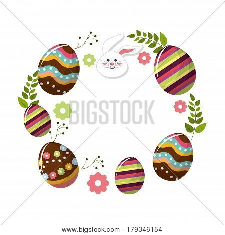 eggs easter with branches plant and face rabbit, vector illustration