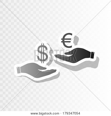 Currency exchange from hand to hand. Dollar adn Euro. Vector. New year blackish icon on transparent background with transition.
