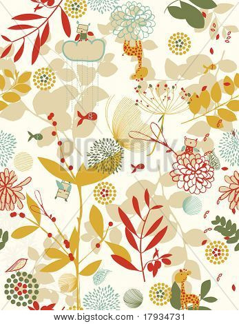 Vector Retro Amusing floral (Seamless pattern)