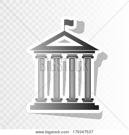 Historical building with flag. Vector. New year blackish icon on transparent background with transition.