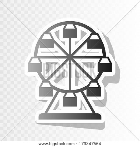 Ferris wheel sign. Vector. New year blackish icon on transparent background with transition.