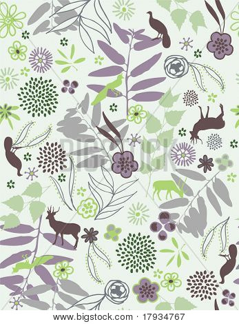 Vector Floral Retro (Seamless Pattern)