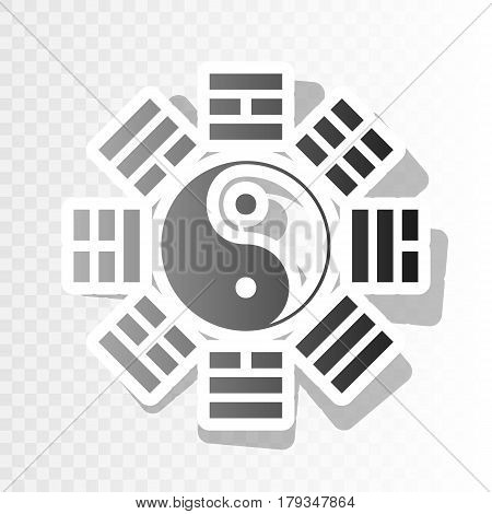 Yin and yang sign with bagua arrangement. Vector. New year blackish icon on transparent background with transition.