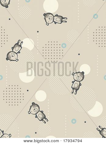 Vector Teddy Bear (Seamless Pattern)
